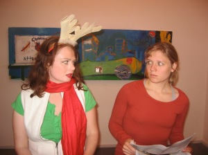 Sarah Logan and Heather Peterson in The Reindeer Monologues