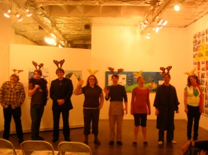 Conor Eifler, Marvin Gray, Sarah Logan, Pat Moran, Heather Peterson, Chris Porter and Fife Ririe in The Reindeer Monologues